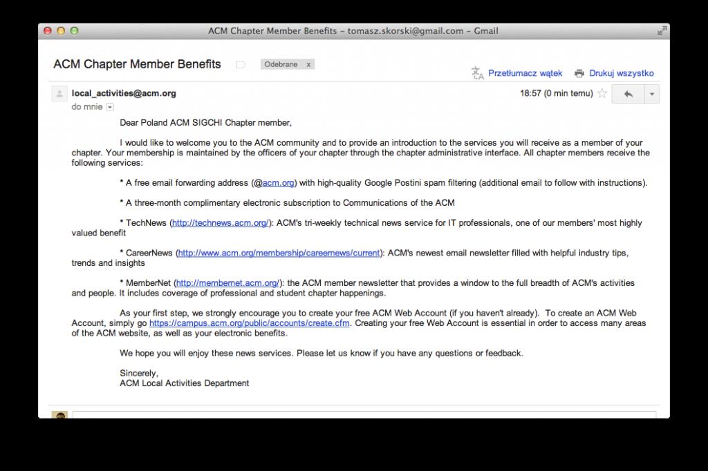 ACM Chapter Member Benefits - tomasz.skorski@gmail.com - Gmail